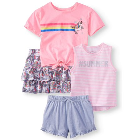 Unicorn Mix and Match, 4-Piece Outfit Set (Little Girls & Big Girls) - Girls Cheerleading Outfit