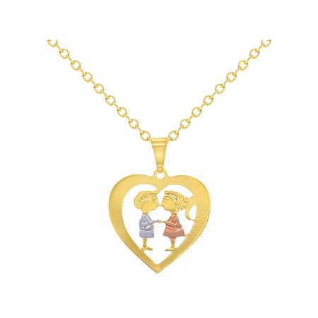 14k Gold Plated Heart Love Kids Sweetheart Couple Pendant Necklace 16