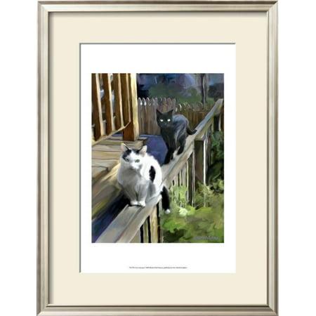 Cats Fencing Framed Art Print Wall Art  By Robert Mcclintock - 19.5x25.5