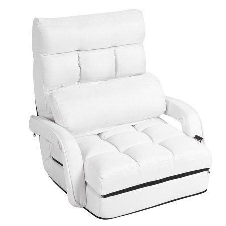 Costway Folding Lazy Sofa Lounger Bed Floor Chair Sofa w/ Armrests Pillow White - image 1 of 9