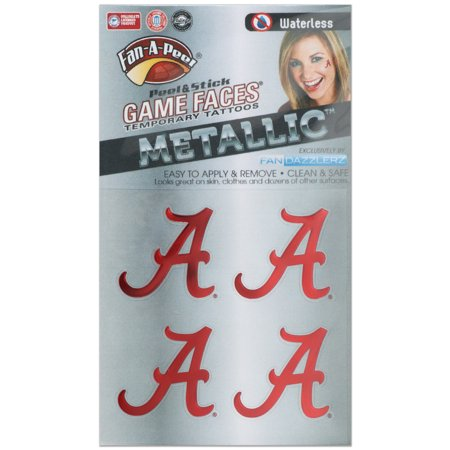 Alabama Crimson Tide Game Faces Metallic Tattoo