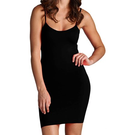 Women's Slip Dress Cami Camisole Seamless Extra Long Solid Tunic Mini Tank Top, Black, One