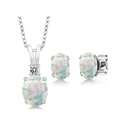 Cabochon Jewelry Set - 2.38 Ct Oval Cabochon Simulated Opal 925 Sterling Silver Pendant Earrings Set