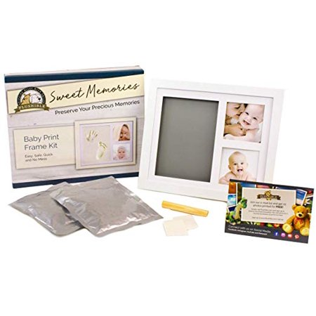 - Plushible Baby Footprint Kit - Double Photo Picture Frame For Baby Footprints - Gift Registry And Baby Shower Gift