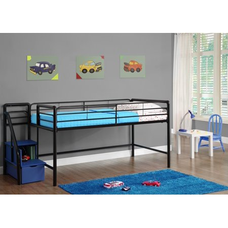 DHP Junior Twin Metal Loft Bed with Storage Steps, Twin Size, Multiple Colors