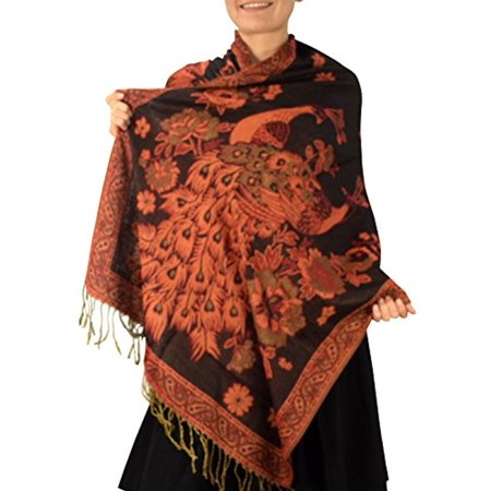 Layer Scarf - Peach Couture Floral Peacock Reversible Shimmer Layered Pashmina Wrap Shawl Scarf Black