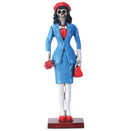La Dama Skeleton in Blue Dress Suit Day of the Dead Dia de los Muertos Figurine