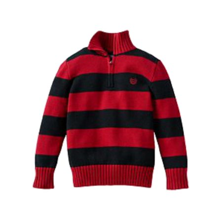 Chaps Toddler Little Boys Red Black Striped Zip Front Henley Knit Sweater 4-4T