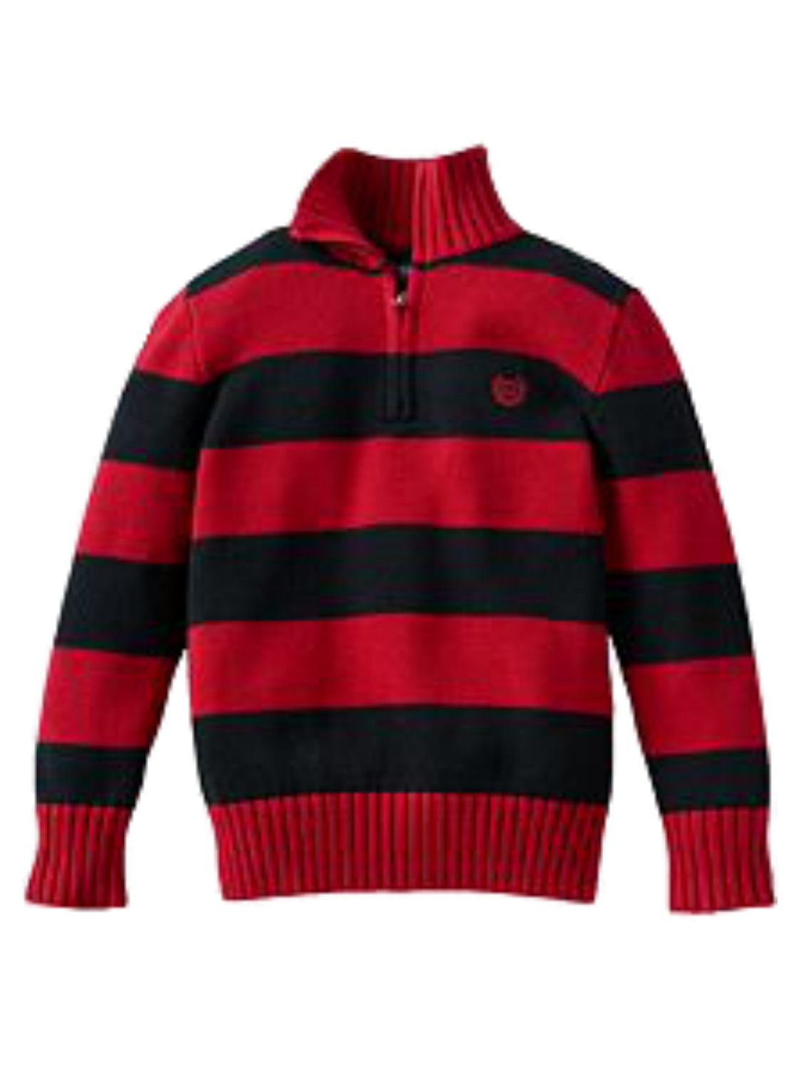 Chaps Toddler Little Boys Red Black Striped Zip Front Henley Knit Sweater