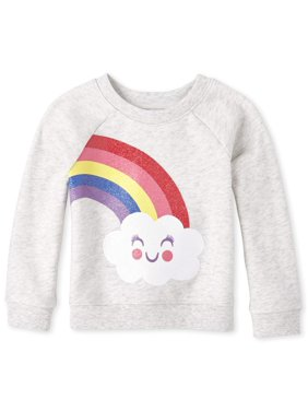 The Children's Place Baby Toddler Girl Long Sleeve Glitter Rainbow Cloud Graphic Popover