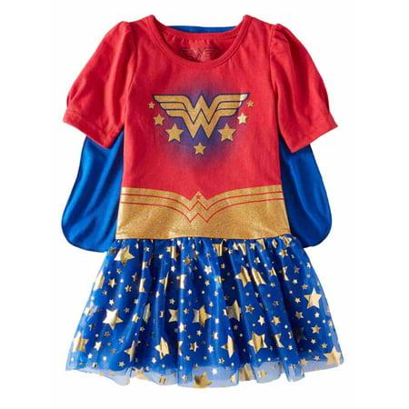 DC Comics Toddler Girls Caped Red & Blue Star Wonder Woman Dress - Star Girl Dc