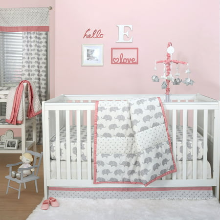 Ellie Stripe Grey Elephant Baby Girl Crib Bedding - 20 Piece Nursery Essentials Set
