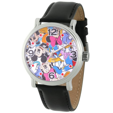 Mickey Mouse, Minnie Mouse, Daisy Duck and Donald Duck Men's Silver Vintage Alloy Watch, Black Leather Strap - Donald And Daisy Duck Halloween