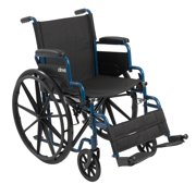 "Drive Medical Blue Streak Wheelchair with Flip Back Desk Arms, Swing Away Footrests, 16"" Seat"