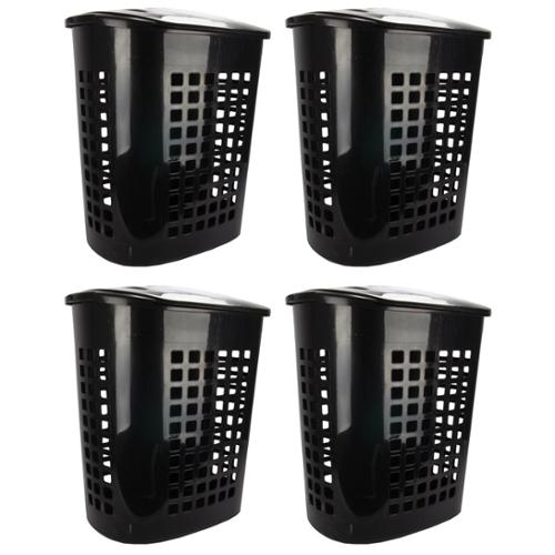 4 Pack) Sterilite 12219004 2.3 Bushel Lift-Top Laundry Hamper Basket w/Handles