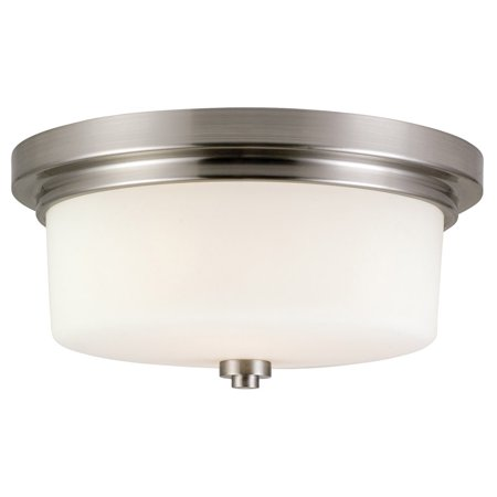 Design House 556654 Aubrey Two-Light Flush Mount Ceiling Light, Satin Nickel Finish
