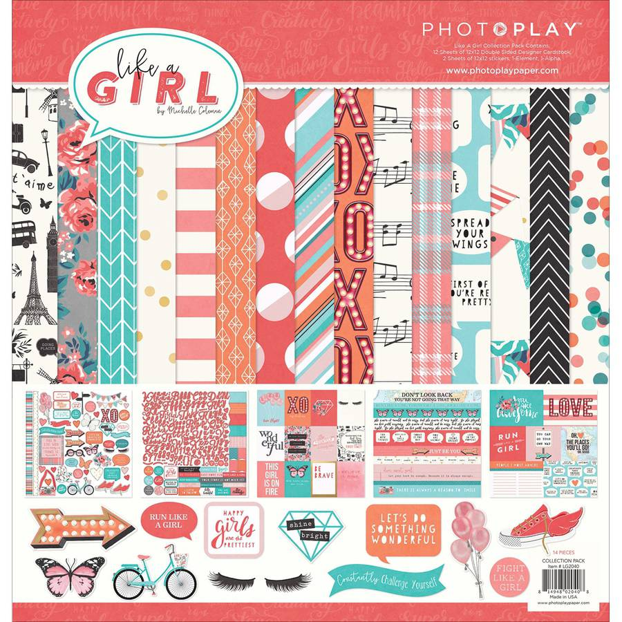 "Photo Play Collection Pack, 12"" x 12"", Like A Girl"