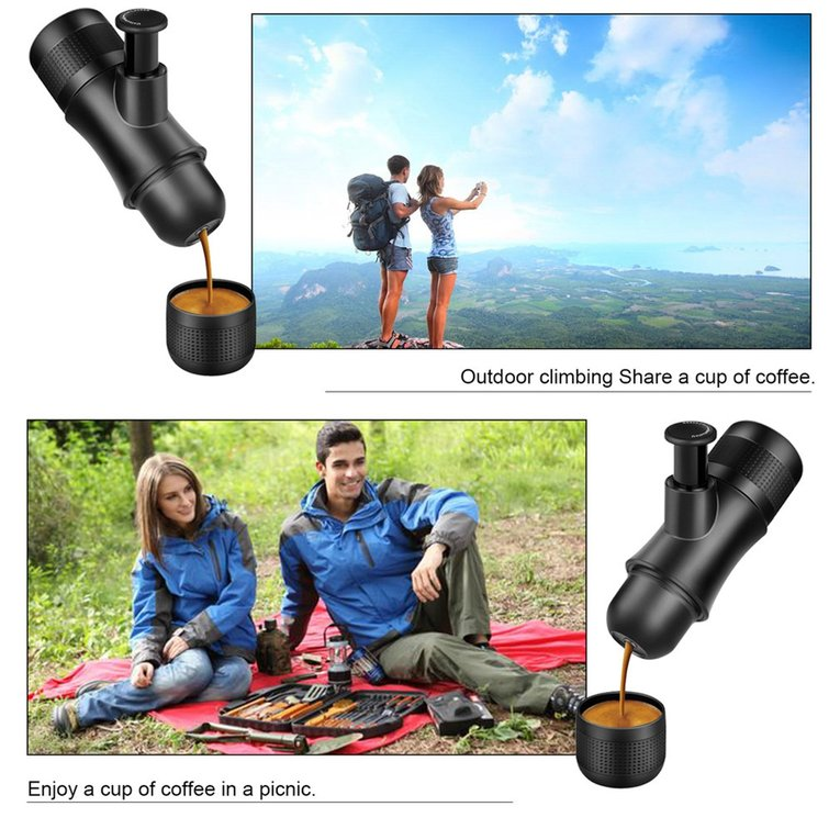 Portable Espresso Machine Hand Held Coffee Maker For Camping Hiking Plastic Durable Mini Manual Espresso Machine by YKS