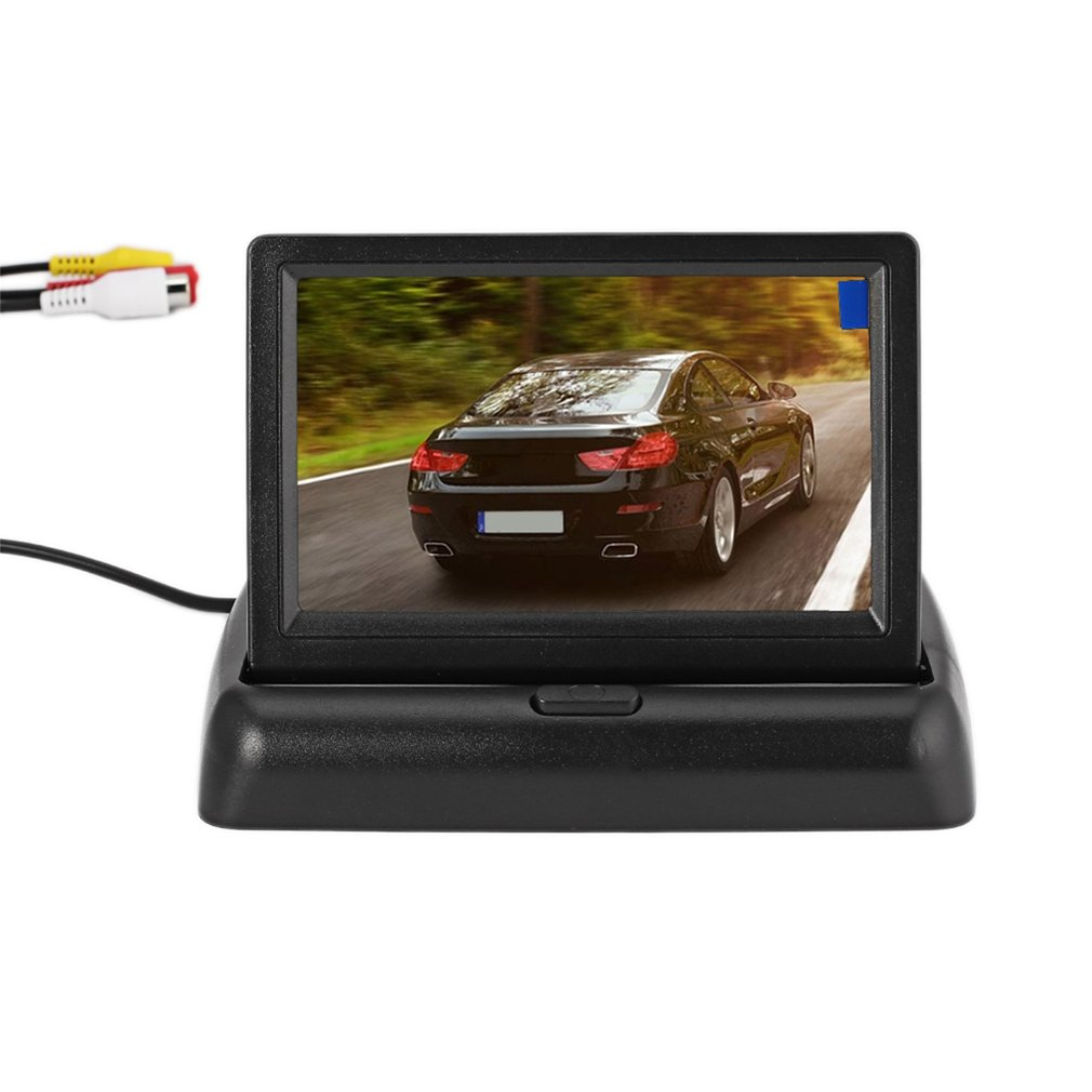 12V 4.3 Inch HD LCD Digital Folding Desktop Universal Monitor Camera Reversing Rear View Display with 2 Video Input Ports