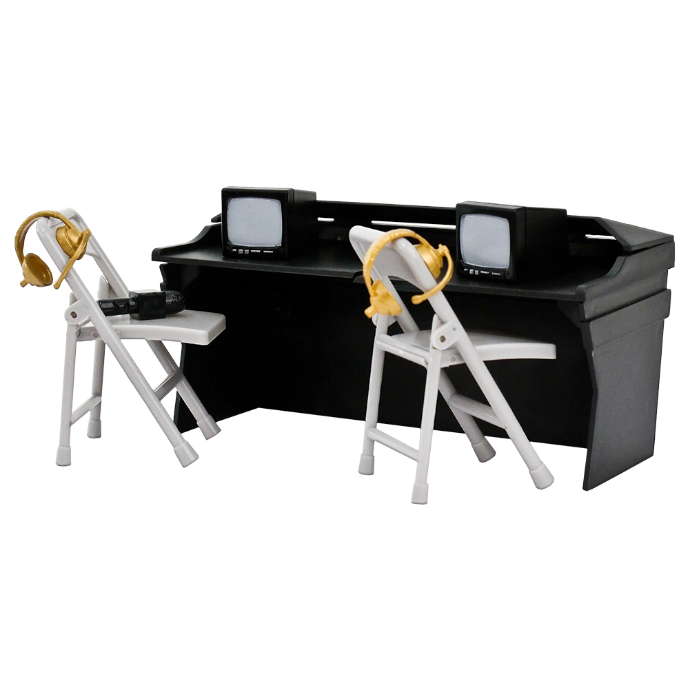 Black Commentator Table Playset For WWE Wrestling Action Figures by