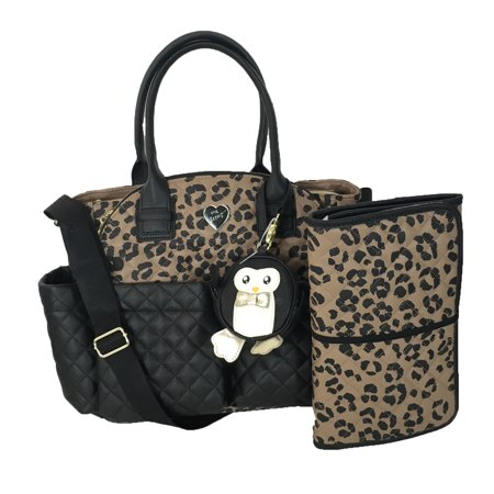 Betsey Johnson Downtown Diamond Quilt Baby Bag Black Leopard