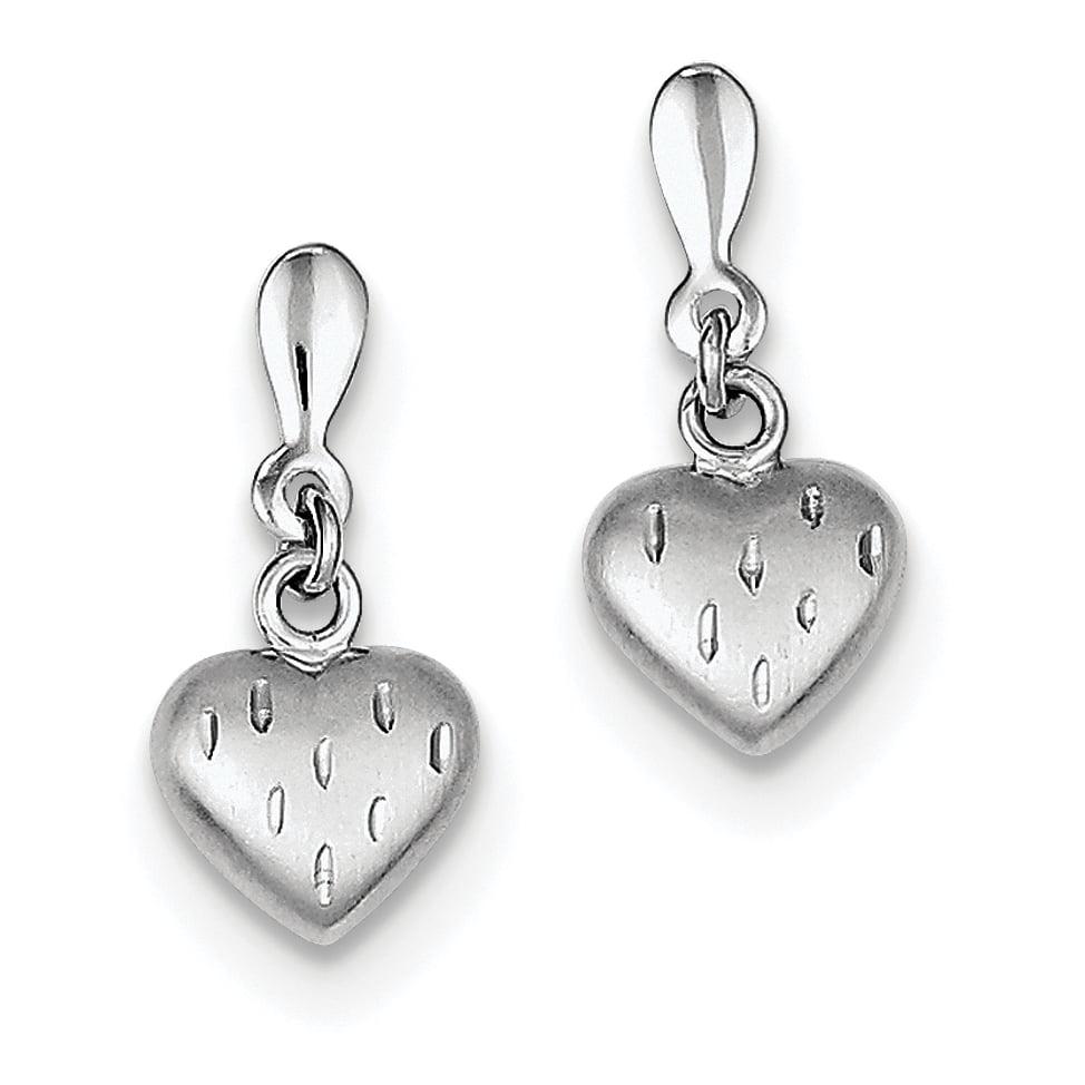 Sterling Silver Rhodium Plated 3-D Scratch Heart Post Earrings QE8706 - image 2 de 2