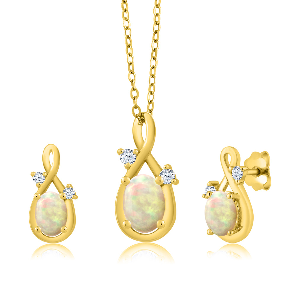 1.24 Ct Oval Cabochon White Ethiopian Opal 18K Yellow Gold Pendant Earrings Set by