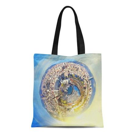 ASHLEIGH Canvas Tote Bag Little Planet Panorama of Barcelona Spain at Fantasy Sunset Reusable Shoulder Grocery Shopping Bags (Barcelona Handbag)