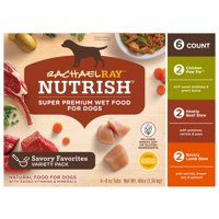 Rachael Ray Nutrish Natural Premium Wet Dog Food, Savory Favorites Variety Pack, ct 6, 8 Oz. Tub