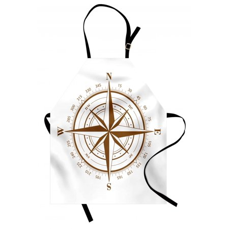 Compass Apron Seamanship Brown Compass with Windrose and Detailed Angles Directions on the Ocean Print, Unisex Kitchen Bib Apron with Adjustable Neck for Cooking Baking Gardening, Brown, by Ambesonne ()