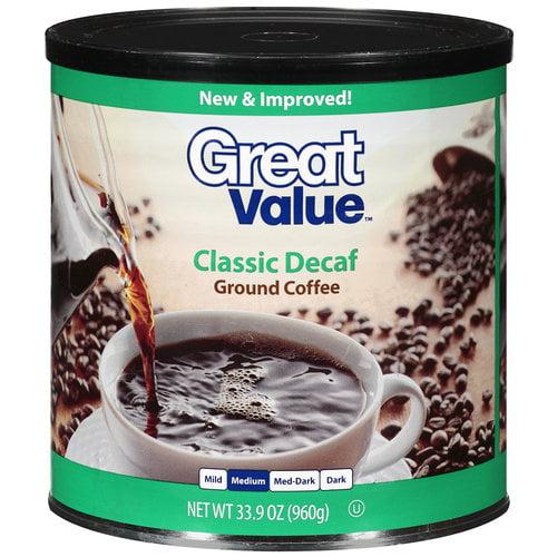 Great Value Classic Decaf Medium Ground Coffee, 33.9 oz