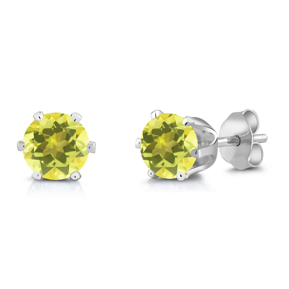 2.00 Ct Round Canary Mystic Topaz Silver Plated 6-prong Stud Earrings 6mm