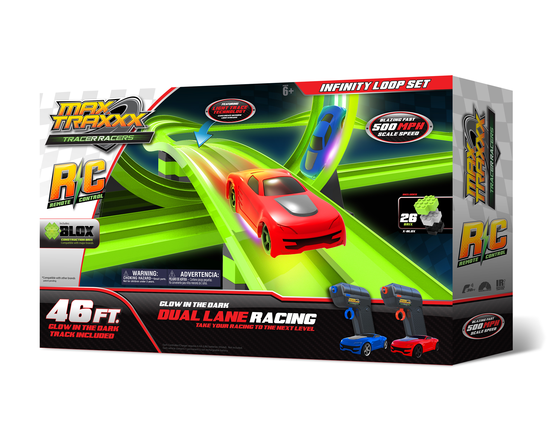 Max TraxxxTracer Racer Glow-in-the-Dark R/C Infinite Loop Race Set, 46' Track