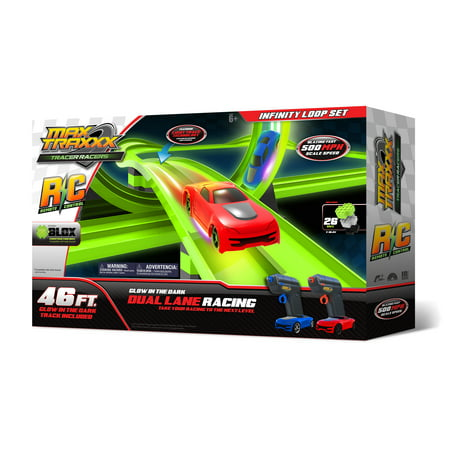 Max Traxxx Tracer Racer Glow-in-the-Dark R/C Infinite Loop Race Set, 46 Track