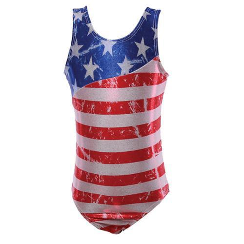 Reflectionz Little Girls Red White Blue American Flag Print Tank Leotard 4-6