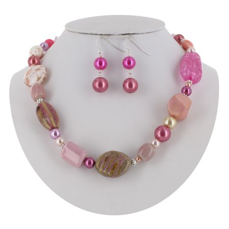 Glass Seed Bead Earrings - Pink Glass Faux Stone Beaded Necklace and Earrings 2 Piece Set