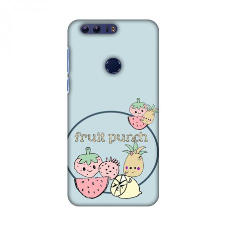 Huawei Honor 8 Case - Fruit Punch- Light blue, Hard Plastic Back Cover, Slim Profile Cute Printed Designer Snap on Case with Screen Cleaning Kit - Blue Punch