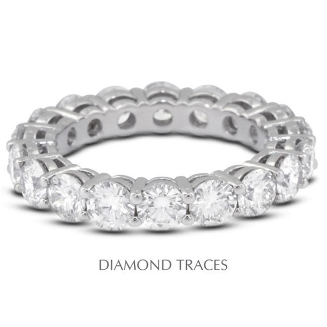 Diamond Traces UD-EWB446-6788 14K White Gold 4-Prong Setting 1.31 Carat Total Natural Diamonds Basket Eternity Ring