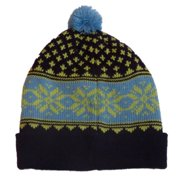 Aquarius Boys Nordic Blue & Purple Snowflake Beanie Pom Pom Hat Stocking Cap