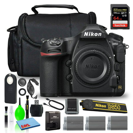 Nikon D850 Digital Camera (Body Only) (1585) + 64GB Extreme PRO Card (Intl)