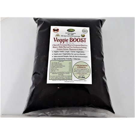 Veggie Boost Compost Blend Organic Vegetable Fertilizer with Worm Castings. 2-2.25-2.5. Higher Yields with Larger, Tastier Vegetables. Concentrated Strength. 4 Lbs. makes 20 Lbs. Worm Compost Tea