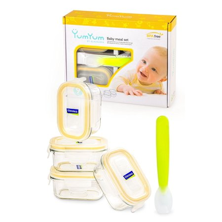 Glasslock  Yum Yum Eco Friendly Airtight Spill Proof Rectangular Baby Food Container 9 Piece Set with Silicon Spoon
