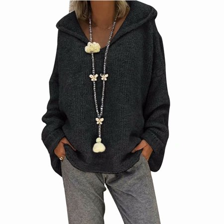 Akoyovwerve Winter Women Hooded Knit Sweater V-neck Tops Long Sleeve Warm Casual Loose Pullovers Jumpers, Black