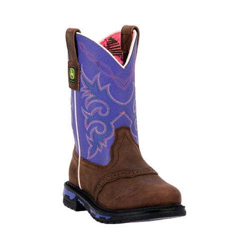 John Deere Western Boots Boys Cowboy Pull On Dark Brown JD2158 by John Deere