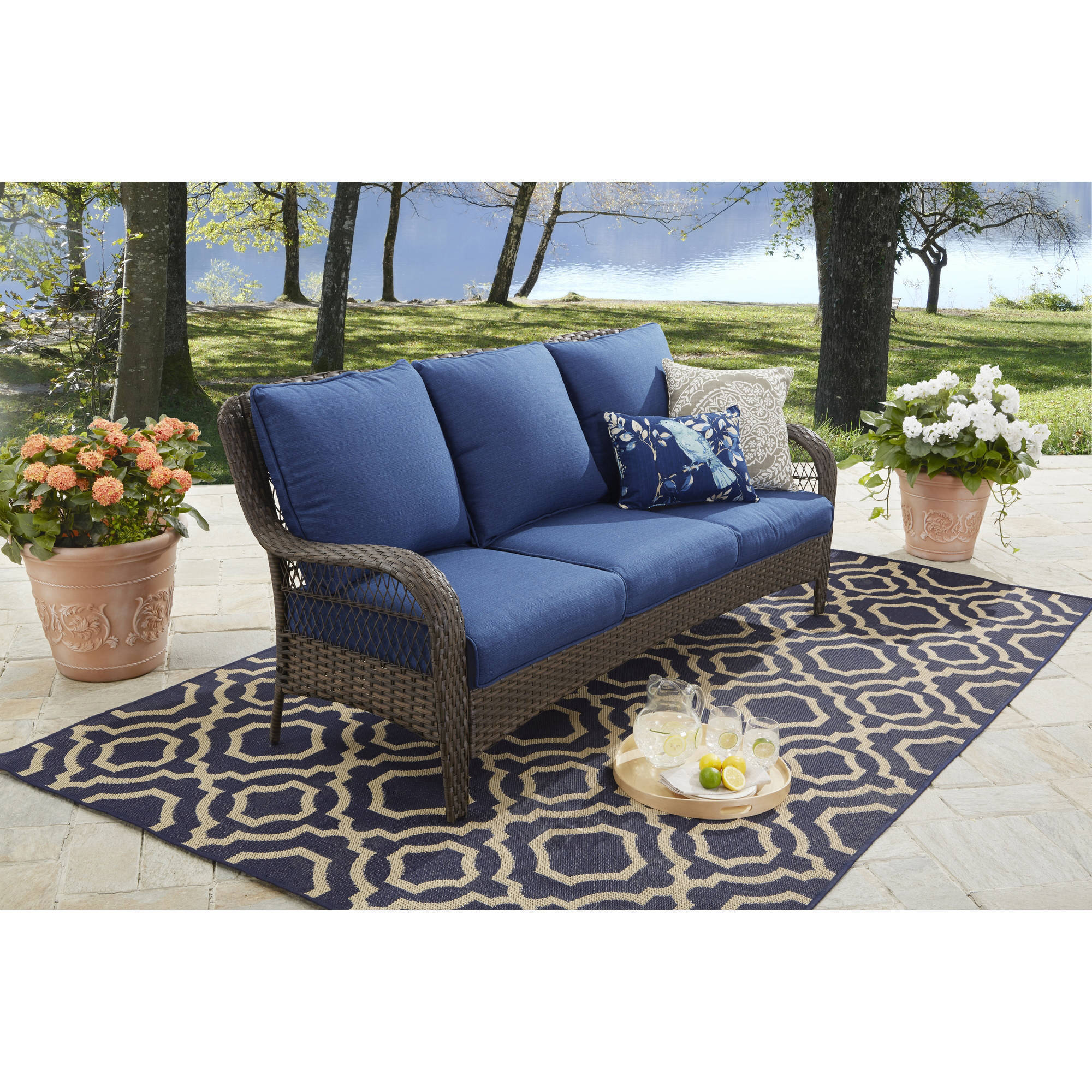 Better Homes and Gardens Colebrook Outdoor sofa, seats 3 Blue
