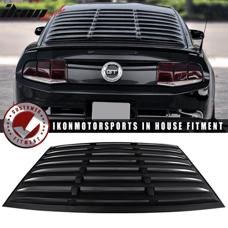 Mustang Window Louvers (Fits 05-14 Ford Mustang GT V6 V8 Window Louver Rear Cover Matte Black)