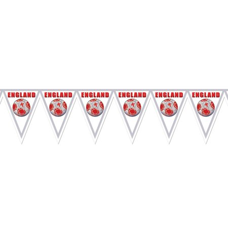 "Pack of 6 Gray, Red and White ""England"" Soccer Themed Pennant Banner Party Decorations 7.4'"