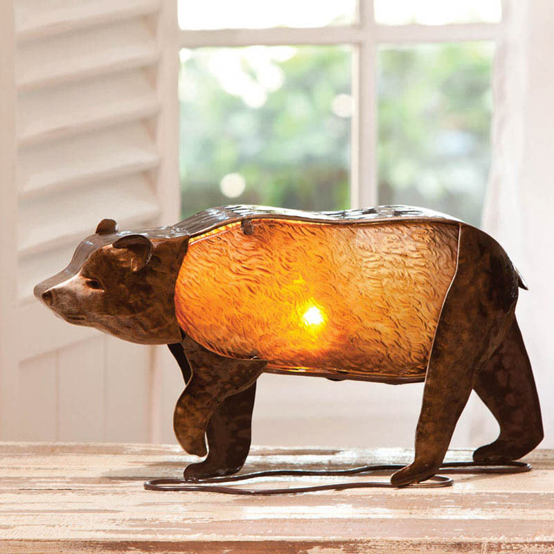 Cape Craftsmen Embossed and Hand Painted Glass Bear 8'' H Table Lamp