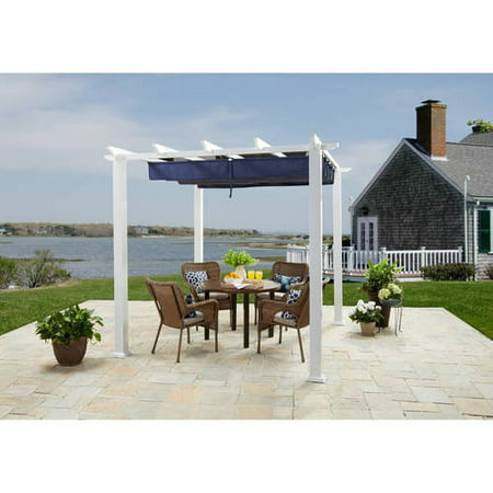 Better homes and gardens meritmoor aluminum steel pergola with single finish 10 39 x 12 39 304 8 for Pergola aluminium x