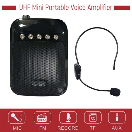 UHF Mini Portable Voice Amp Amplifier Loudspeaker FM Radio with Wireless Headset Microphone Mic Support TF